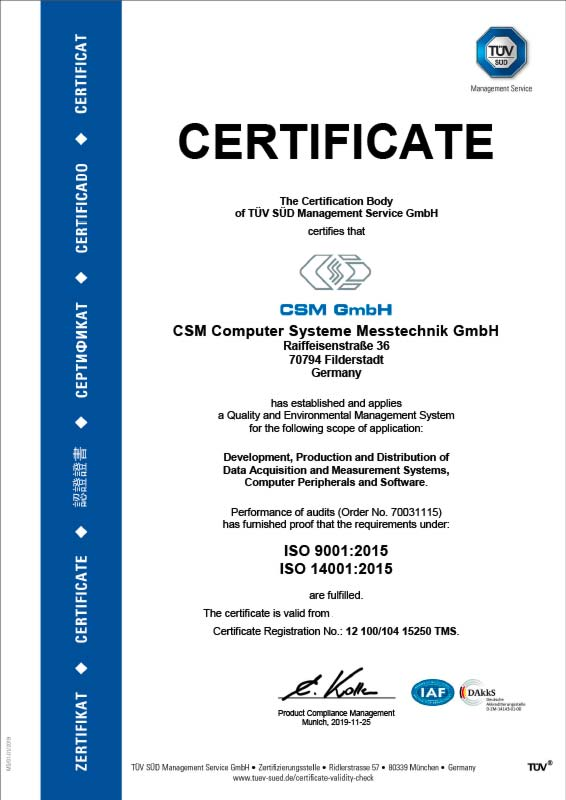 TÜV certificate for ISO 9001 and ISO 14001