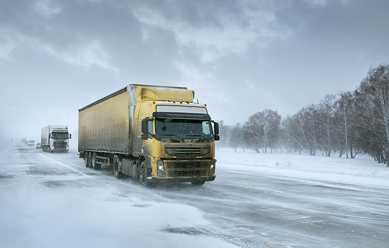 Truck on a snowy road