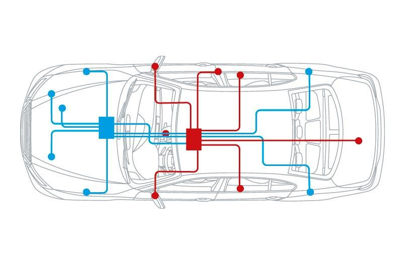 Several vehicle electrical systems in a hybrid car