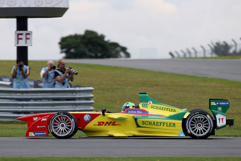 Lucas di Grassi in the new Formula E race car ABT Schaeffler FE01