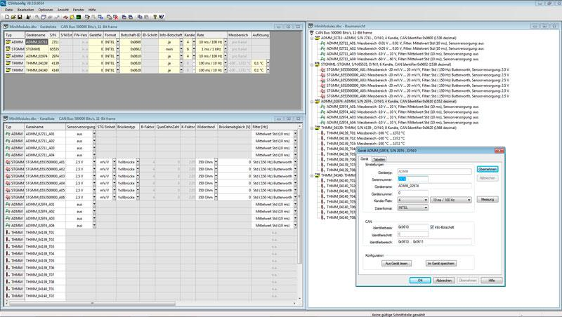 Fast configuration of all CSM measurement modules: CSMconfig user interface