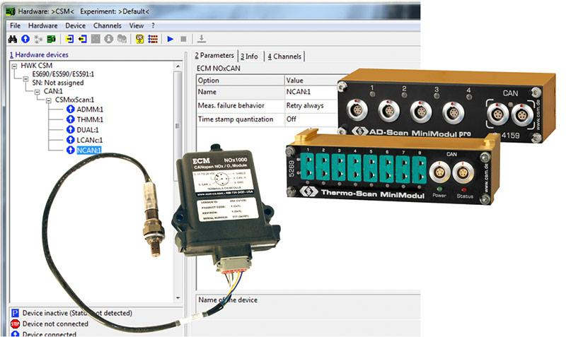 CSM INCA AddOn enables the integration of CSM CAN and ECAT measurement modules in INCA®